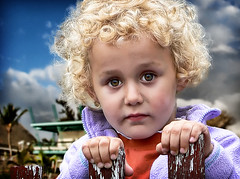 portrait of innocence (Kris Kros) Tags: portrait girl beautiful beauty photoshop fence photography kid high eyes child dynamic fine style curly blond innocence strong curl blondie range hdr impressive masking kkg extraction in cs3 firstquality photomatix 1xp infinestyle kkgallery