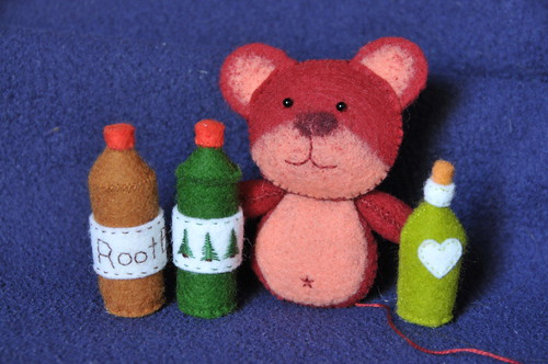 More Felt Bottles, 3/4 Done Bear