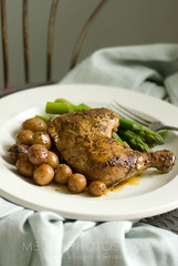 simple satisfaction (mwhammer) Tags: orange brown white green chicken dinner gold juicy soft meat thigh homemade asparagus drumstick organic simple seated savory wholesome roasted dinnerforone hearty propstyling satisfying foodstyling melinahammer stwfeedbackplease rosepotato