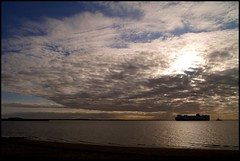 Lead the way (Kirsten M Lentoft) Tags: sea sky sun water clouds denmark boat ships northsea esbjerg kirstenmlentoft
