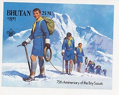 75th Anniversary of the Boy Scouts (stampghar) Tags: old bhutan stamps rare