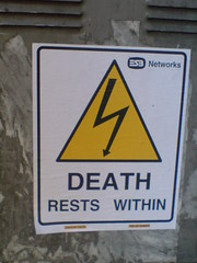 Death Rests Within (jaqian) Tags: cameraphone streetart sign sticker sonyericsson esb k800i deathrestswithin