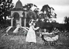 Little Lady ({amanda}) Tags: white toddler moody afternoon child antique mykid 85mm overcast bnw pram 2years twoyears amandakeeysphotography