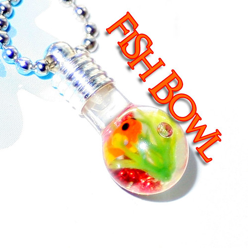 Gold Fish Bowl , one of a kind Vial Necklace/ Phone charm