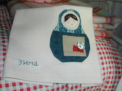 Winter (Salted River) Tags: handmade applique matryoshka teatowel handpieced russiannestingdoll handembroidery babouchka poupéerusse