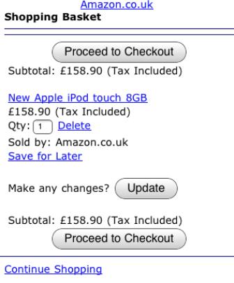 Amazon mobile shopping basket