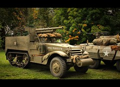 75 mm Gun Motor Carriage M3 (L) & M8 Armored Car (R) (Lyle58) Tags: army us reenactment hdr m3halftrack 70thtankbattalion m8armoredcar