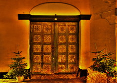 Old door and Christmas trees (OrangUtanSam) Tags: christmas xmas nightphotography night copenhagen denmark dragr doors nightphoto oldtown dragoer xmasdecoration