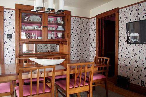 Wallpapered Dining Room