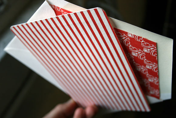 Letterpress holiday cards - red envelope liner & backing - Smock