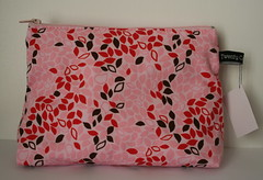 Pink leaves cosmetic bag