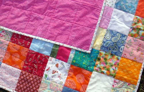 girly quilt front, back, binding