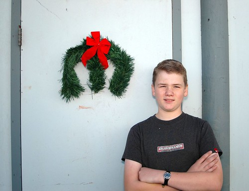 My son with the Mopar wreath he made