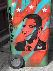Paris 19 09 Obama by Pedro (descartes.marco) Tags: barakobama graffitistreetart obamania obamastreetart obamastencil yeswecanobama parisobama parispedro obamapochoir stencilpochoirstreet