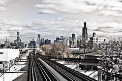 city to the east (John J Curtis) Tags: chicago downtown skyscrapers ltrain eltrain greenline elevatedtrain chicagoskyline eltracks johnjcurtis