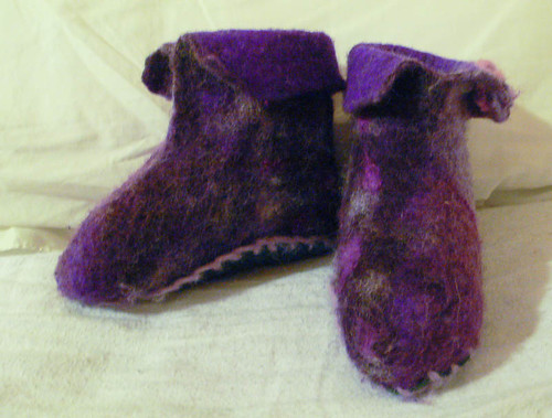 Wet felted booties
