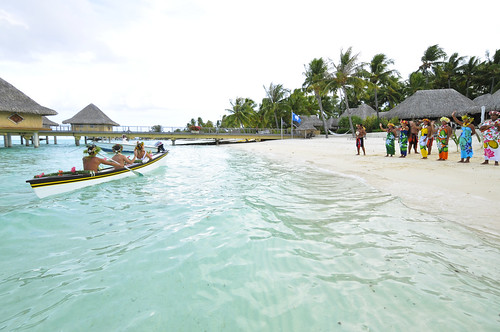 InterContinental Bora Bora  Le Moana Resort wedding outrigger canoe leaving