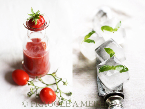 cicchetto di pomodorini, fragole e basilico (con ghiaccioli)