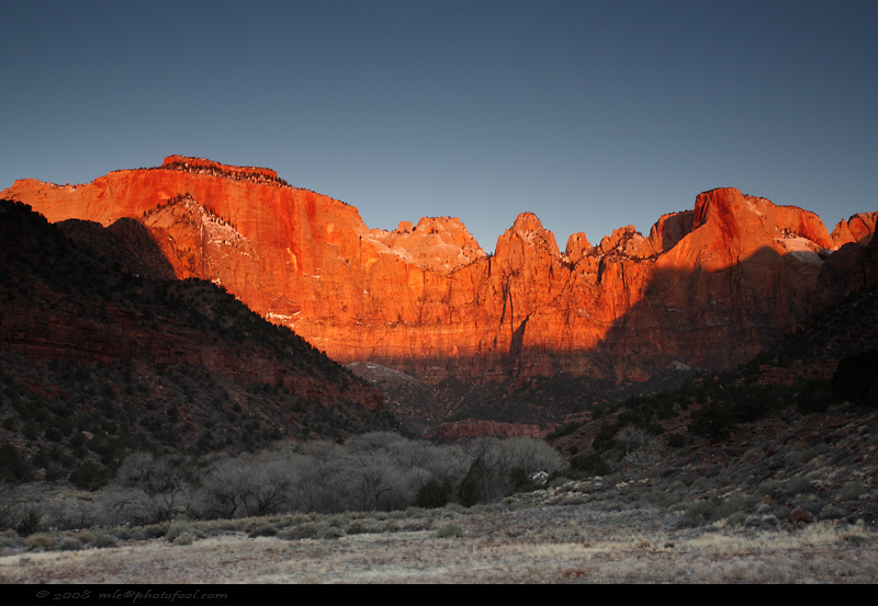 zion canyon sunrise west temple towers of the virgin  altar of sacrifice springdale utah photofool
