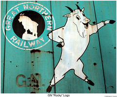 "GN ""Rocky"" Logo (Robert W. Thomson) Tags: railroad train montana greatfalls rocky goat railway trains traincar boxcar gn rollingstock greatnorthern moutaingoat rockythegoat"