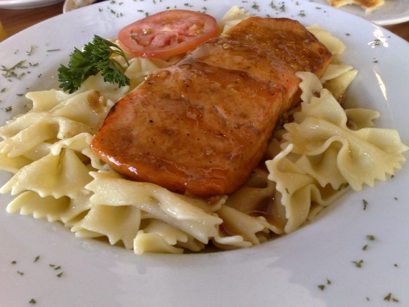 Asian Maple Glazed Salmon over Bow Tie Pasta