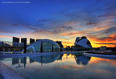 Sunset at the City of Arts and Sciences (Two photos for celebrating my 2nd anniversary in Flickr 2/2) (Salva del Saz) Tags: city santiago sunset sky espaa reflection valencia architecture canon reflections atardecer spain arquitectura bravo dusk arts ciudad wideangle cielo calatrava reflejo artes 1022mm hdr highdynamicrange sciences 1022 reflejos ciencias efs1022 lovemyflickrfriends flickrplatinum salvadordelsaz salvadelsaz lovemyefs1022mmlenses ylihlm loveisthekeyloveistheanswer