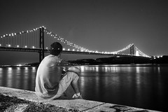 Travels bring us reflexion on us (ole) Tags: bridge bw portugal self europe solitude lisboa lisbon background ghost solo timer lonelyness ole eole portfoliobw