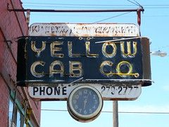 St Joseph, MO Yellow Cab Co. neon sign (army.arch) Tags: clock broken sign downtown neon cab taxi faded neonsign stjosephmissouri fadingamerica