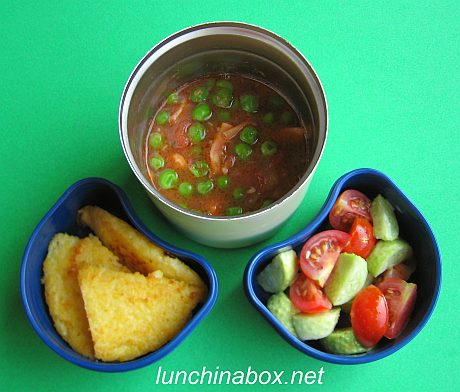 Peas and squid bento lunch for preschooler