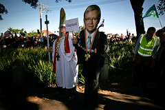Gaylord and Kevin (Lil [Kristen Elsby]) Tags: cutout religious kevin politics rally religion crowd protest sydney police australia wideangle flashphotography demonstration event parody activism pm bishop protester protesters primeminister prochoice reportage australasia oceania moorepark cardboardcutout worldyouthday wyd documentaryphotography kevinrudd wyd2008 worldyouthday2008 cardboardfigure popegohomo notopope saynotopoperally