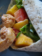 spicy lime and mango chicken wraps