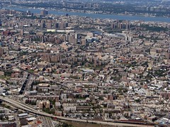 The Bronx (showing old and new Yankee Stadium) (Dan_DC) Tags: nyc newyork river big cityscape bronx large bestviewedlarge aerialview aerial hudson yankeestadium