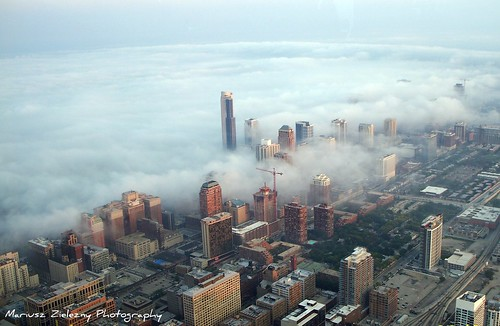 Fog at Chicago afternoon
