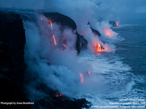 Amazing Picture of the Ocean Boiling Over from Lava: