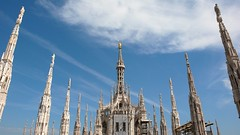 Guglie/Spires (ccr_358) Tags: roof sky italy milan rooftop church gold italia cathedral spires milano statues symmetry symmetric marble duomo lombardia ontop madonnina guglie churchexterior madunina ccr358