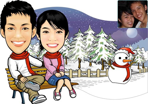 Custom Caricature Drawing Of Sweet Lovely Couple's - Snowing Theme