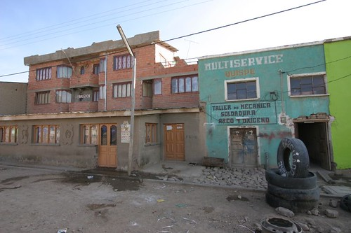My pension (red building) in Caracollo, Bolivia.