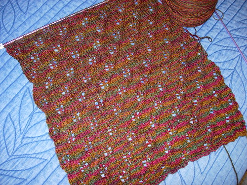 Woodland Shawl, in progress