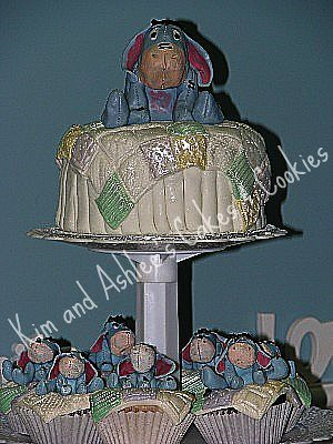 Eeyore Baby Shower Cake and Cupcakes