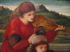 """Edward Burne Jones ; a detail from """"Music"""" (Martin Beek) Tags: music detail macro art up closeup museum painting close details fineart victorian surface medieval study technique tutorial masterpiece artworks arthistory preraphaelite colection paintingdetail historyofart edwardburnejones artupclose avirtualmuseum artexamined"""