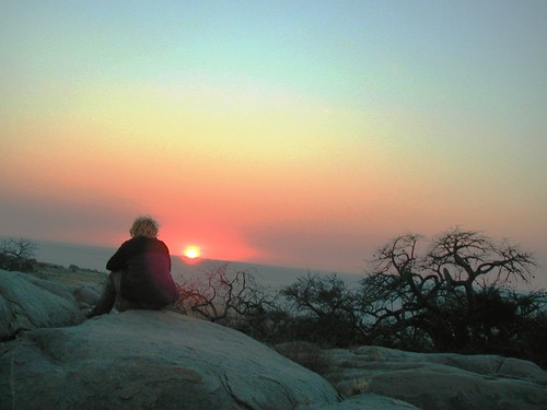 Dawn on Kubu Island, Botswana