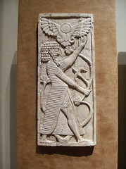 Panel with male figure grasping a tree: winged sun disc above (peterjr1961) Tags: nyc newyorkcity newyork art museum iraq met mesopotamia metropolitanmuseumofart assyrian neoassyrian