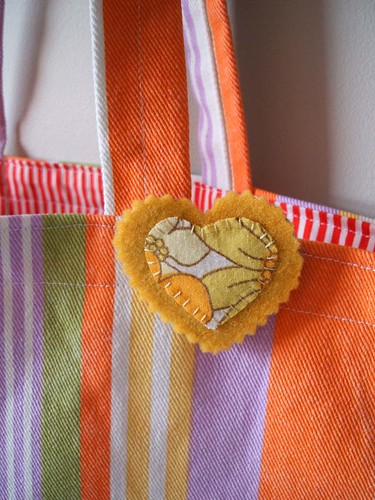 candy stripe tote and brooch