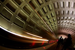 camera bag on shoulder tripod (philliefan99) Tags: motion station train subway washingtondc vanishingpoint districtofcolumbia blueline metro silhouettes tunnel dcist concourse metrorail wmata foggybottom pfogold