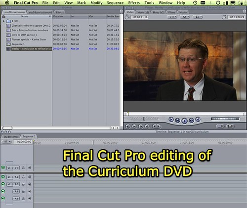 Final Cut Pro editing of the curriculum DVD