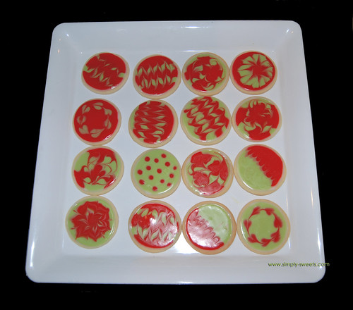 Red and Green Glace Holiday Sugar Cookies