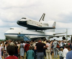Space Shuttle STS Enterprise at Stansted Airport Essex UK, Sunday June 5th 1983 (Stuart Axe) Tags: uk greatbritain startrek england usa 35mm smithsonian airport dulles texas unitedstates florida unitedkingdom aviation nasa shuttle gb 1983 boeing kennedyspacecenter capecanaveral enterprise 1980s spaceshuttle essex boeing747 stansted 747 londonstansted orbiter sts stanstedairport endeavour starshipenterprise spaceprogram spacerace n905na 747100 londonstanstedairport stanstedmountfichet countyofessex unlimitedphotos spaceshuttlestansted nasa905