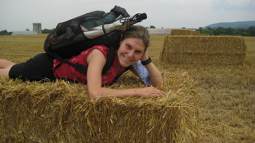 Lauren with Hay Bales