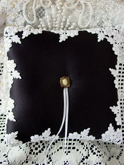 Exquisite Viennese Lace Hand-Made Black and White Ring Pillow-sold (Shabee Stitches) Tags: blackandwhite pillow ringbearer accessories weddings ringpillow peaudesoie vienneselace