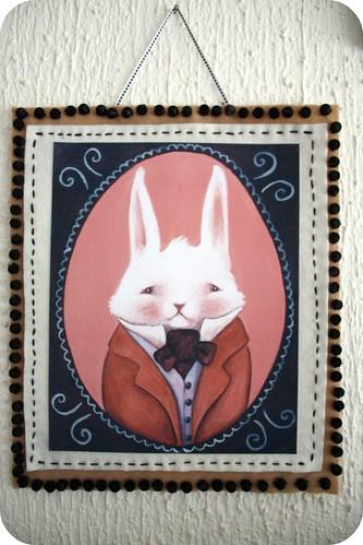 I'm the white rabbit, felt-bead frame by you.